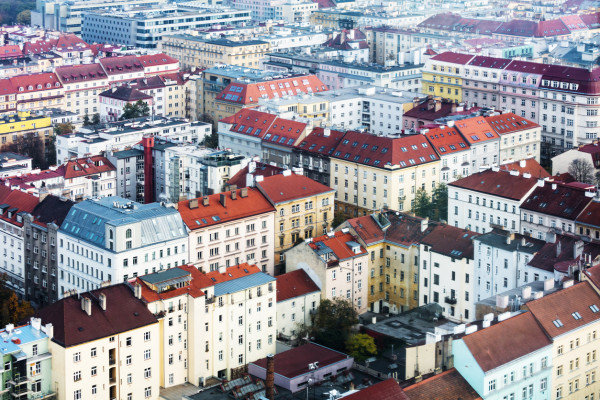 Apartment blocks in central Prague via iStock / terex