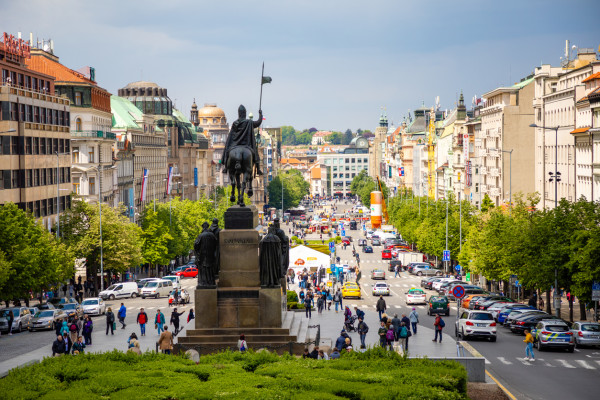Prague's Wenceslas Square via iStock / Tatiana Dyuvbanova