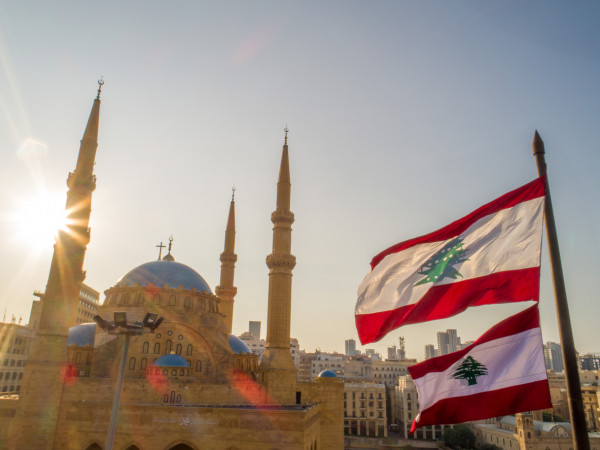The Mohammad Al Amine Mosque and St. George Church in Beirut via iStock / carlos haidamous