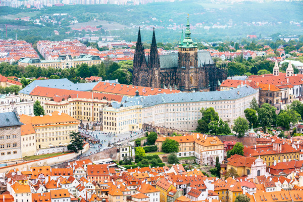 Bird's eye view of Prague Castle, seat of the Czech governent, via iStock / danilovi